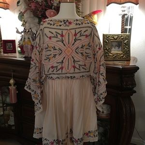 Free People Biege embroidered dress